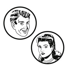 couple faces pop art style vector image