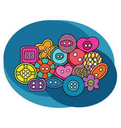 Sewing buttons design set vector