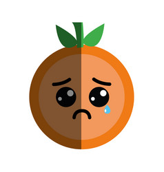 Kawaii nice crying orange fruit vector