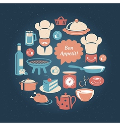 Food and cooking icons round set vector image