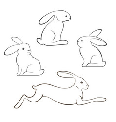 outline of rabbits and hares vector image