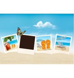 Vacation photos on a beach vector image