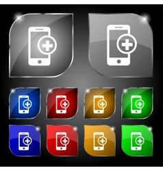 Mobile devices sign icon with symbol plus map vector
