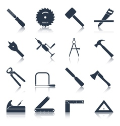 Carpentry tools icons black vector