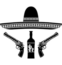 Tequila sombrero and two pistols vector