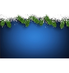 Fir and snow christmas frame vector image