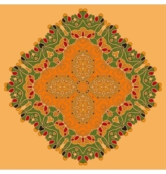 Green and orange oriental mandala abstract retro vector