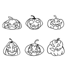 Halloween pumpkin sketchy outline icons vector