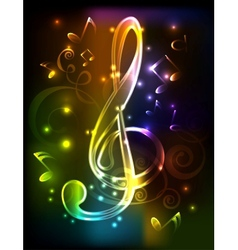 Neon treble clef vector