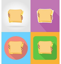 fast food flat icons 11 vector image