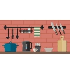 Cooking utensils on kitchen table vector image