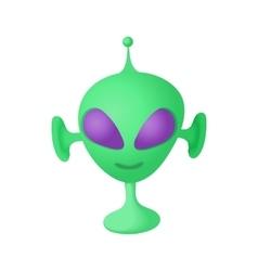Alien icon in cartoon style vector