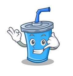 Call me okay soda drink character cartoon vector