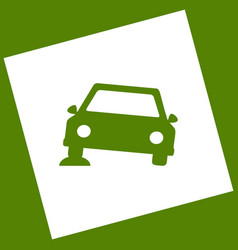 Car parking sign white icon obtained as a vector