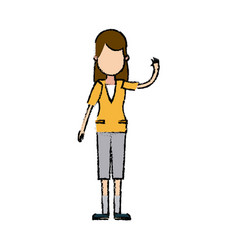 Character woman young people waving hand vector