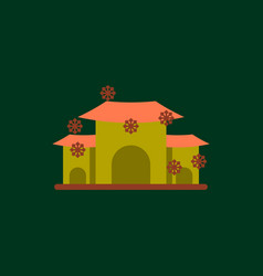 chinese house and snow of vector image