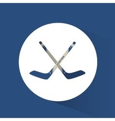 Crossed sticks hockey blue background vector