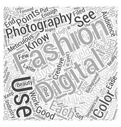 Digital fashion photography word cloud concept vector