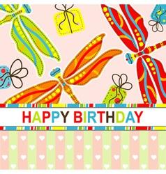 dragonfly birthday scrapbook card vector image vector image