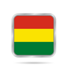 Flag of bolivia metallic gray square button vector