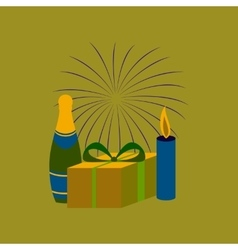 Flat on background of fireworks vector