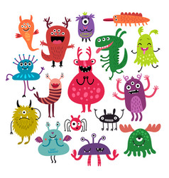 Funny monsters set vector
