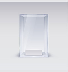 glass showcase for presentation on white vector image