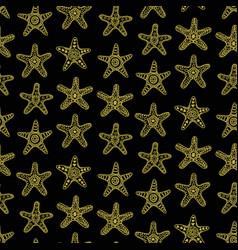 Golden sea stars seamless pattern vector