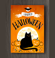 halloween postcard design with lettering vector image