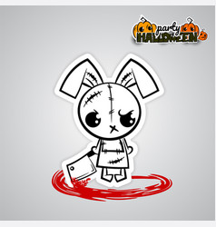 Helloween evil bunny voodoo doll pop art comic vector