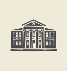 Icon of two-storey old building with columns vector