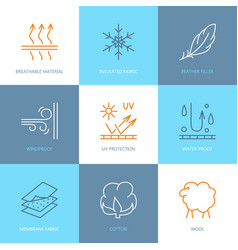Line icons of fabric feature garments vector
