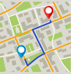 Map with pins and blue way vector