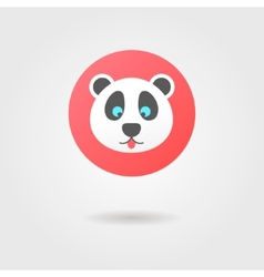 Panda in the red circle with shadow vector