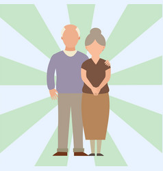 People happy love senior couple cartoon vector