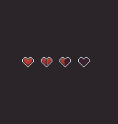 Pixel art hearts vector