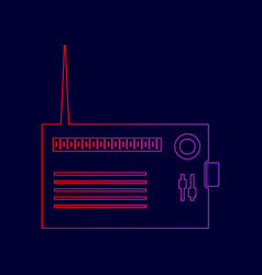 radio sign line icon with vector image vector image