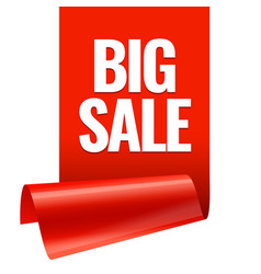 sale banner realistic red glossy paper ribbon vector image vector image