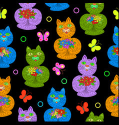 seamless pattern of hand drawn cartoon cats vector image