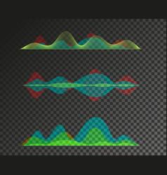 set of sound waves equalizer design vector image vector image