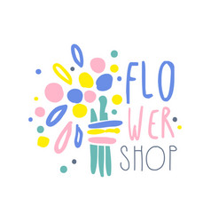 shop flower logo template colorful hand drawn vector image vector image