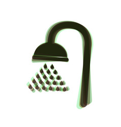 Shower sign colorful icon shaked with vector