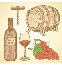 Sketch wine set in vintage style vector image vector image