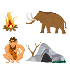 stone age or neanderthal man household flat vector image