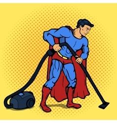 Superhero man with vacuum cleaner pop art vector