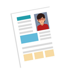 woman file info with curriculum vitae sheet vector image