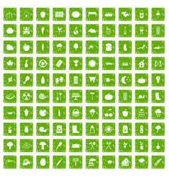 100 vegetables icons set grunge green vector image