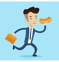 Businessman eating hot dog vector