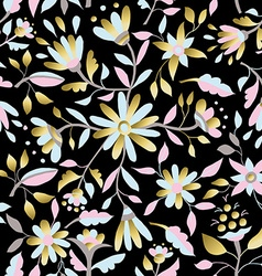 Gold flower seamless pattern in pastel colors vector