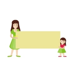Woman and girl holding blank message board vector